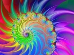 9812899 computer generated image with a spiral design in purple blue yellow green and red
